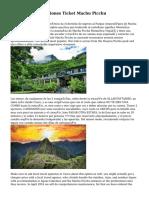 Terminos Y Condiciones Ticket Machu Picchu