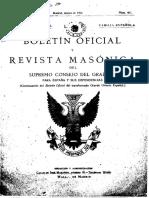 Boletín Oficial y Revista Masónica Del Supremo Consejo Del Grado 33 Para España y Sus Dependencias. 3-1934