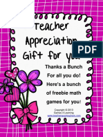 Math Games Teacher Appreciation Gift
