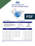 Practice Reasoning Test Answer Sheet