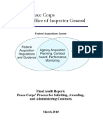 Peace Corps Contracts PC Process for Soliciting Awarding and Administering Contracts IG1006A