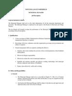 Job Description - Municipal Manager