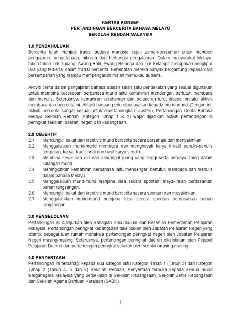 Kertas Konsep Pertandingan Bercerita Bahasa Melayu Sr 1