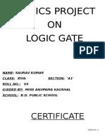 C.B.S.E. Class 12 Physics Project On Logic Gates