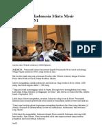 Pemerintah Indonesia Minta Mesir Lindungi WNI
