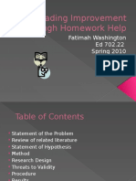Reading Improvement Through Homework Help Power Point