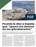 """160127 La Verdad CG- Picardo Le Dice a España Que """"Ignora Los Deseos de Los Gibraltareños"""" p.8"""