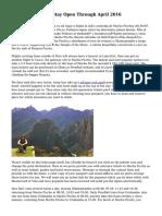 Machu Picchu To Stay Open Through April 2016
