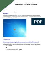 Personalizar La Pantalla de Inicio de Sesión en Windows 7