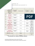 Formato Calendario de Tareas Segunda Unidad 2016 - Segundo Básico