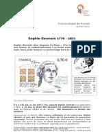Timbre Sophie Germain Communiqué de Presse de La Poste