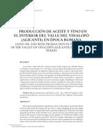 Producción de aceite y vino en el interior del Valle del Vinalopó en época Romana
