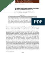 Mandatory Portfolio Disclosure, Stock Liquidity, And Mutual Fund Performance