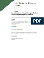 La Memoire Et l Instant Improvisation Sur Un Theme de Denis Laborde (1)