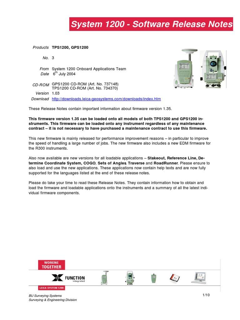 System1200 Release Notes v1_35_en | Application Software | Application  Programming Interface