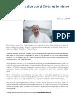 Papa Francisco Dice Que El Corán Es Lo Mismo Que La Biblia