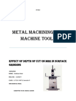 Effect of Depth of Cut on MRR in Surface Grinding