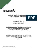 Mental Health Field Handbook 14-15