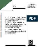 COVENIN 2972-2-1997 Exactitud (Veracidad y Precisión) - Determinación de r y R