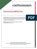Reporting of Statistics