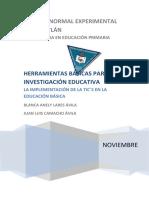 Proyecto de Investigación  LA IMPLEMENTACIÓN DE LA TIC`S EN LA EDUCACIÓN BÁSICA