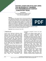 Analisis Kesesuaian Lahan Dan Evaluasi Jenis Tanah Dalam Budidaya Tanaman Tebu Untuk Pengembangan Daerah Kabupaten Tegal