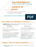 assessing intelligence and  the dynamics of  intelligence