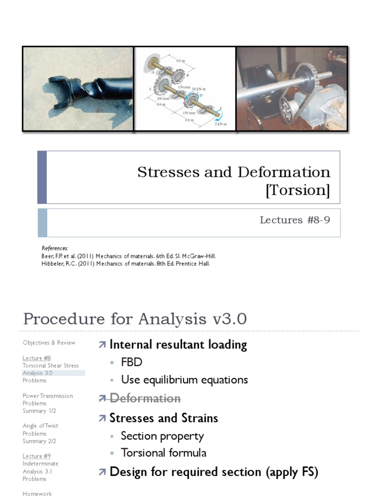 Lecture 8 & 9 - Torsion | Bending | Stress (Mechanics)