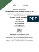 organisational study in MBA  INTERNSHIP PROJECT