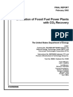 Evaluation of Fossil Fuel Power Plants With CO2 Recovery