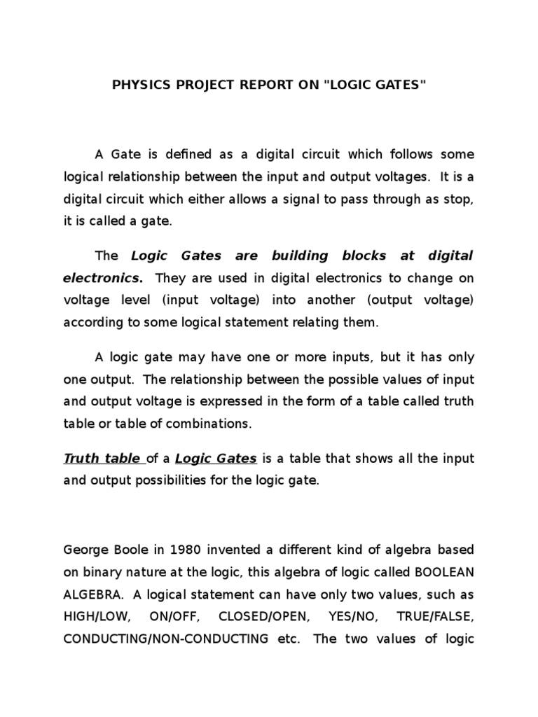 Logic Gates Boolean Algebra Gate And Circuit