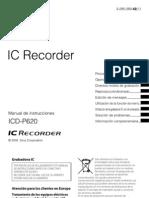 Sony Grabadora de Voz Icd-p620 Instrucciones