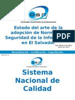 Estado Del Arte de La Adopción de Normas de SI en El Salvador