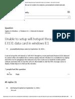 Unable to Setup Wifi Hotspot Through Huawei E3131 Data Card in Windows - Microsoft Community