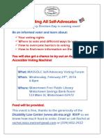 MASS-DLC Self-Advocate Voting Forum Flyer