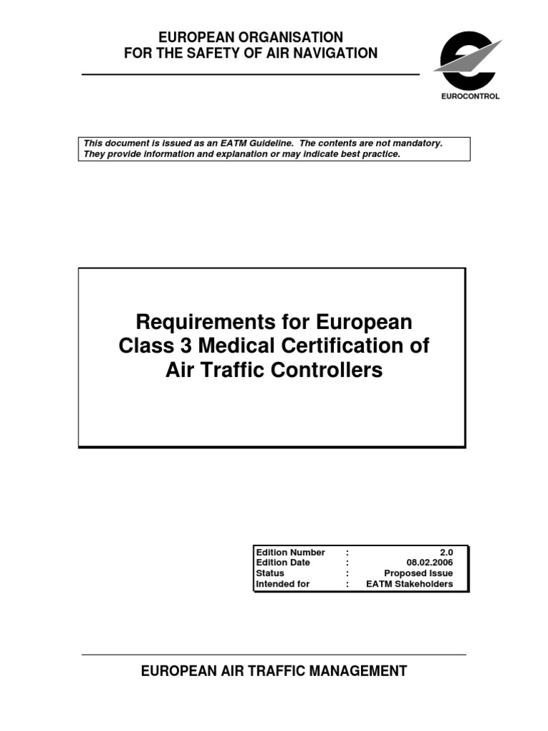 Requirements For European Class 3 Medical Certification Of Air