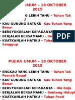 Pujian Umum – 18 Okt 2015
