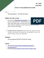 Living Organism Extra Credit