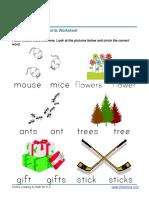 Kindergarten Circle Words Plural Words 1