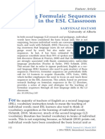 Teaching Formulaic Sequences in the ESL Classroom