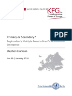 Primary or Secondary? Regionalism's Multiple Roles in Brazil's International Emergence