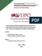 Aplicación de gestión de riesgos en proyectos de construcción de instituciones educativas ubicadas en la zona altoandina de la región Lambayeque