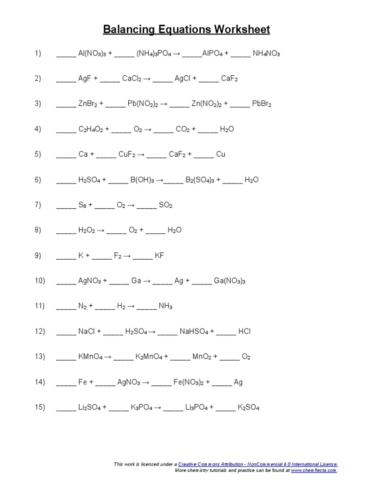 Balancing Equations Worksheet Atoms – Balancing Equations Practice Worksheet Answers