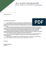 Principal of Kildonan East Collegiate sends letter to parents