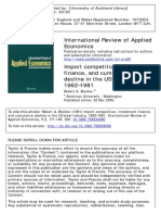 Blecker, R. a. (1991). Import Competition, Investment Finance, And Cumulative Decline in the US Steel Industry, 1962–1981. International Review of Applied Economics, 5(2), 171-195.