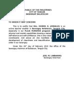 Certification Barangay Enabler