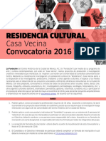 RESIDENCIA CULTURAL Casa Vecina Convocatoria 2016