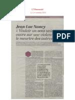 Jean-Luc Nancy, L'Humanité, 2, 3, 4 octobre 2015