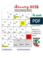 February Calendar 2016