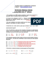 Matemática - Exercícios Resolvidos - Vestibular1 - Equação 2 º Grau I